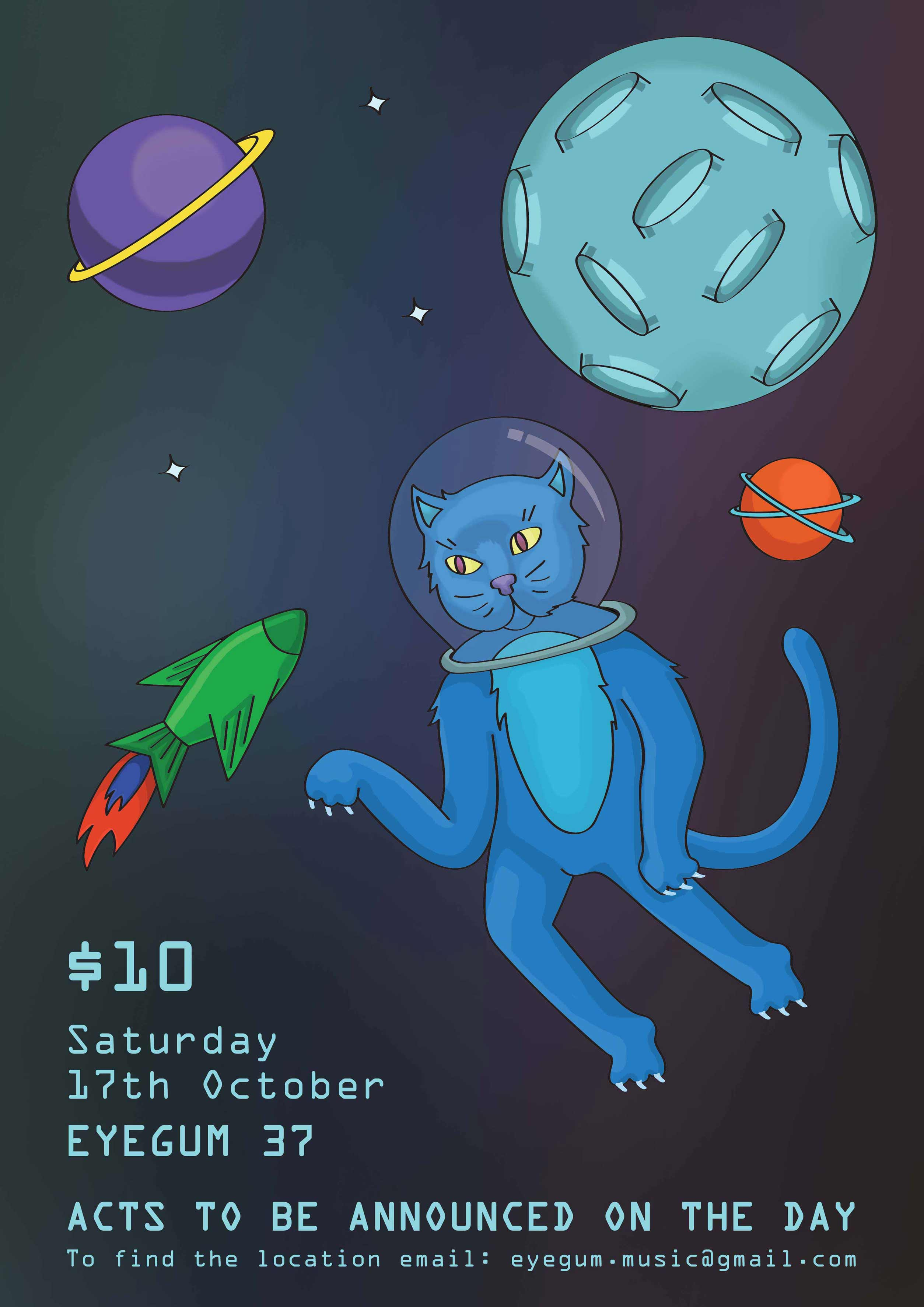 Astrocat in Space, Eye Gum Poster 37 by Yana Brewster