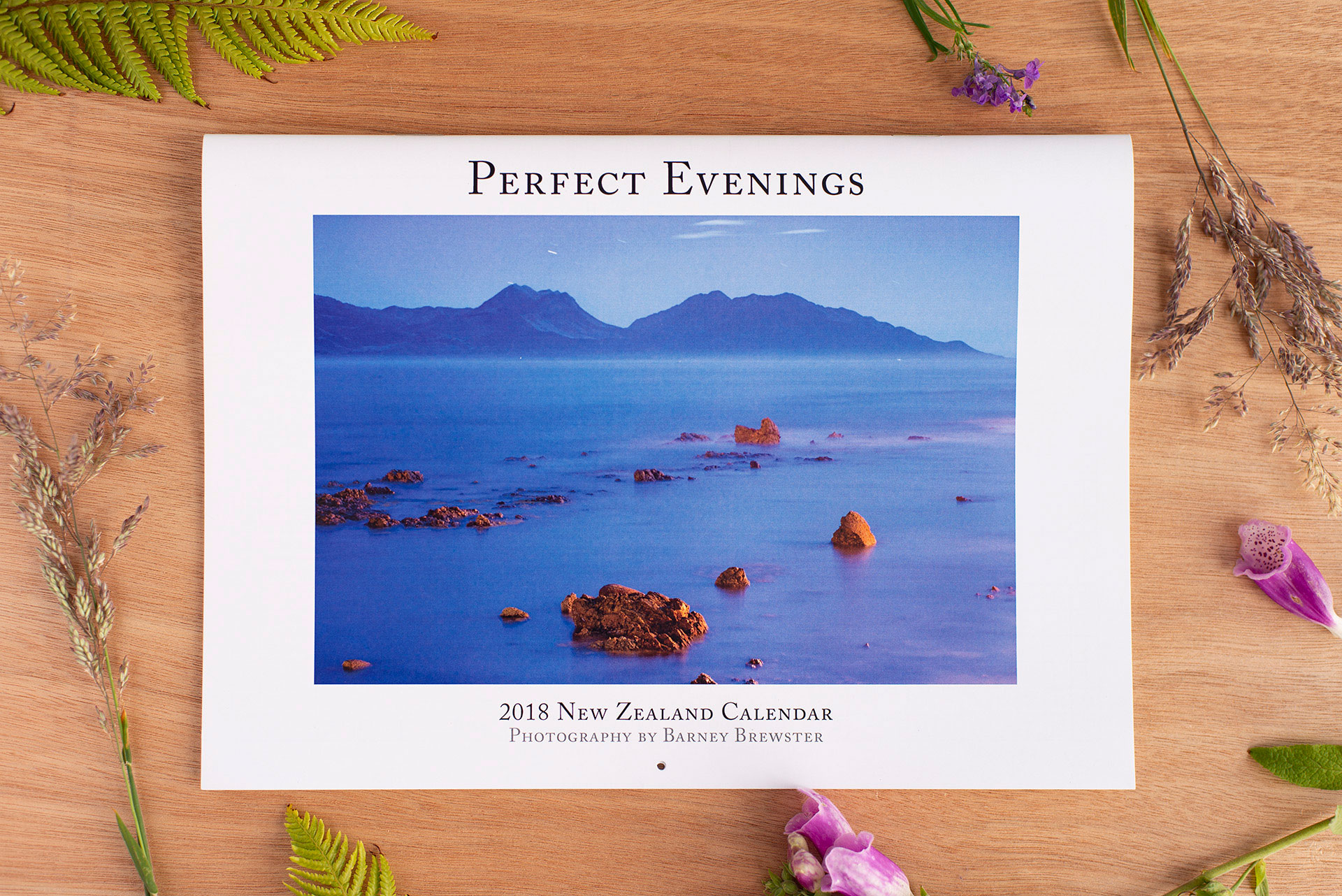 Perfect Evenings 2018 New Zealand Calendar cover by Barney Brewster, photo taken by Nana Jones
