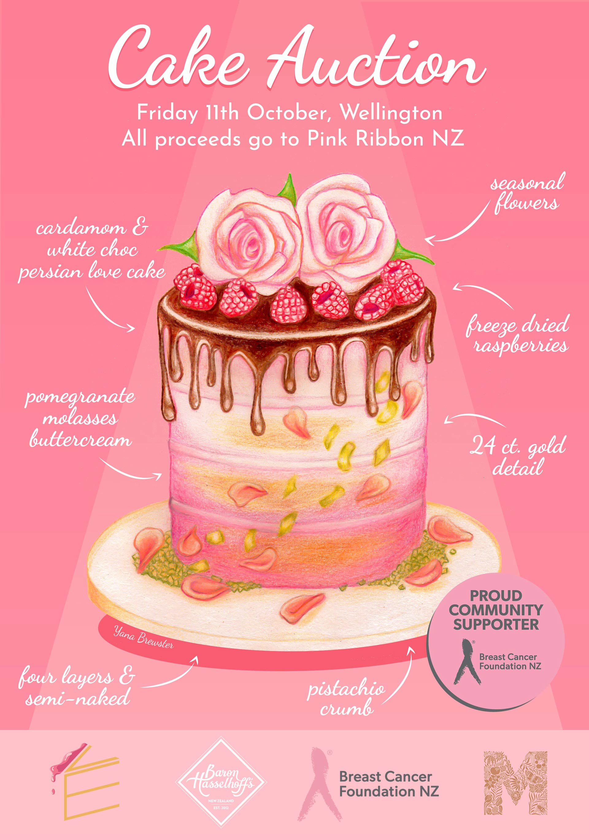 Pink Ribbon Cake Auction Poster by Yana Brewster